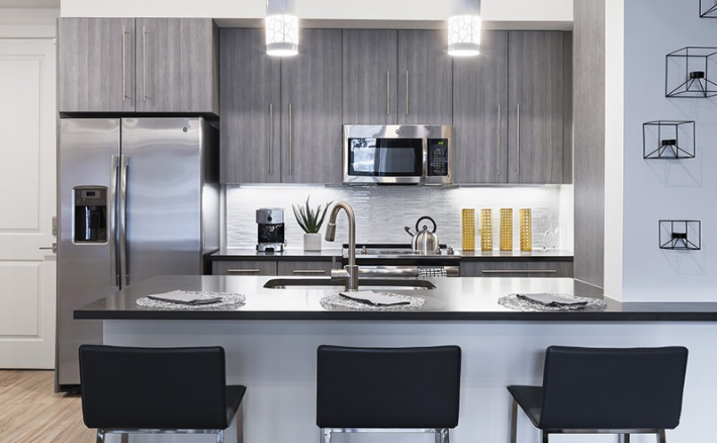 Avanti St. Pete Modern Kitchen With Stainless Steel Appliances | St. Petersburg Apartments