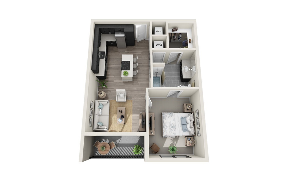 A2 - 1 bedroom floorplan layout with 1 bath and 713 square feet.