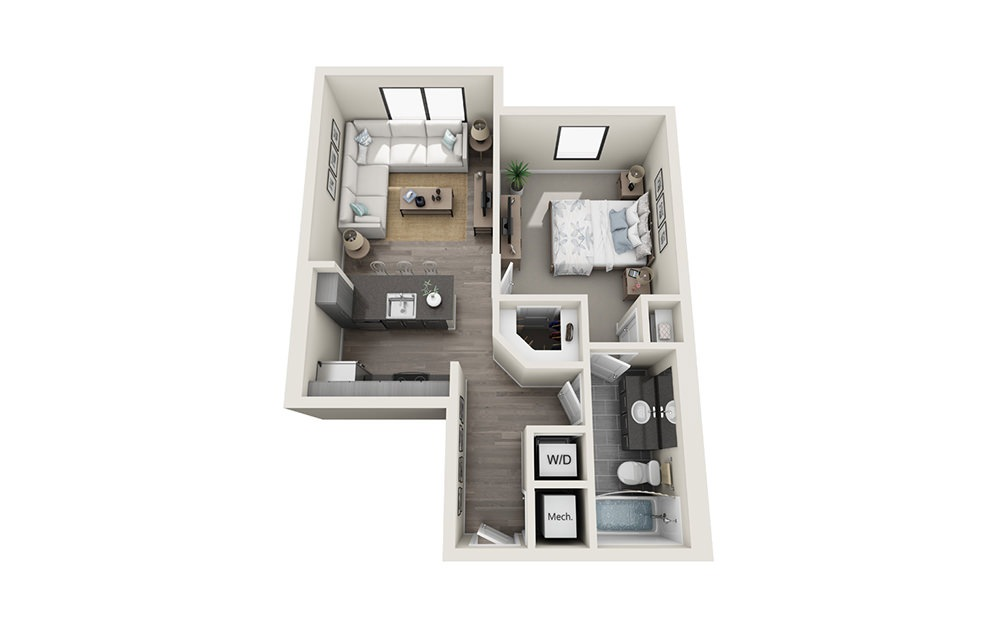 A3 - 1 bedroom floorplan layout with 1 bath and 741 square feet.