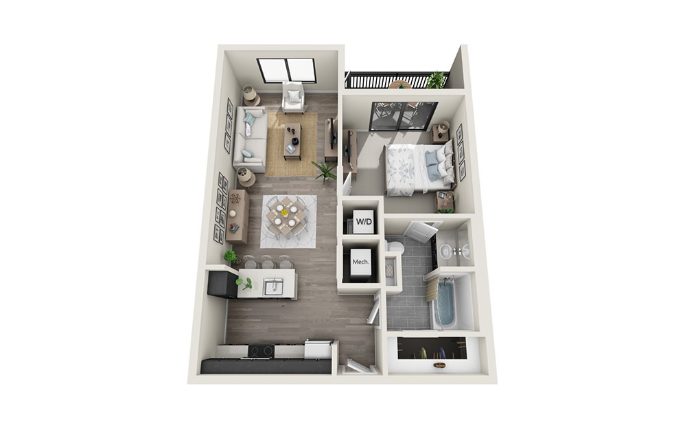 A4 - 1 bedroom floorplan layout with 1 bath and 753 square feet.