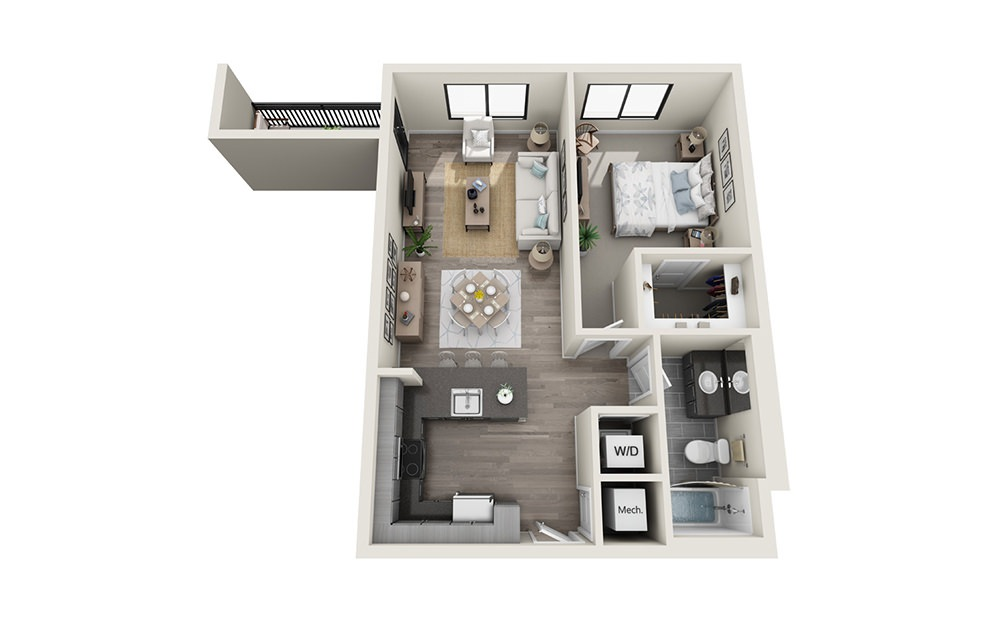 A5 - 1 bedroom floorplan layout with 1 bath and 773 square feet.