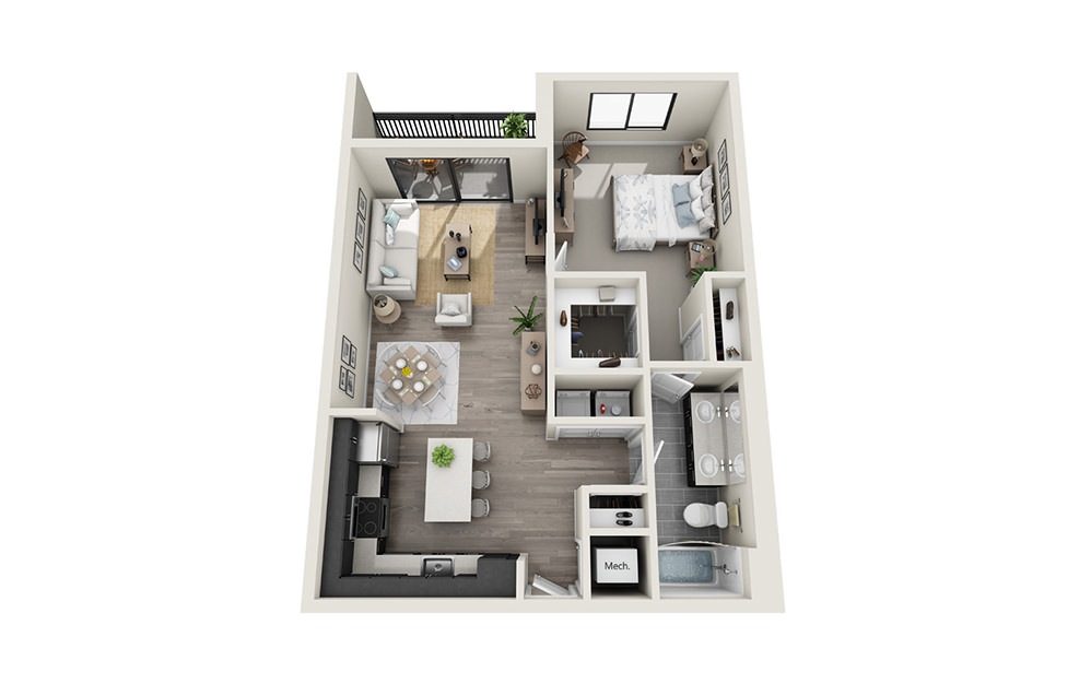 A6 - 1 bedroom floorplan layout with 1 bath and 829 square feet.