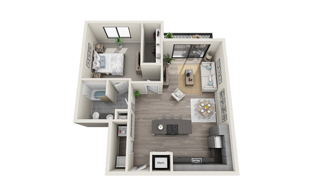 A7 - 1 bedroom floorplan layout with 1 bath and 881 square feet.