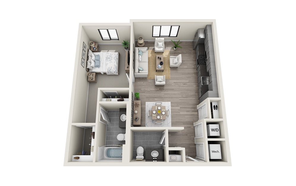 A8 - 1 bedroom floorplan layout with 1.5 bath and 909 square feet.
