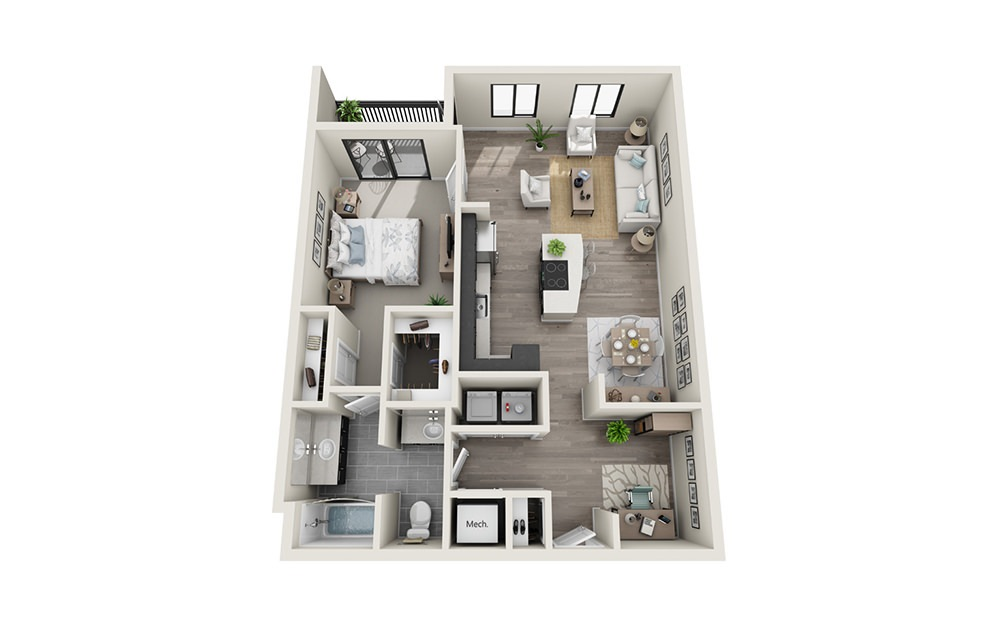 AD1 - 1 bedroom floorplan layout with 1 bath and 935 square feet.