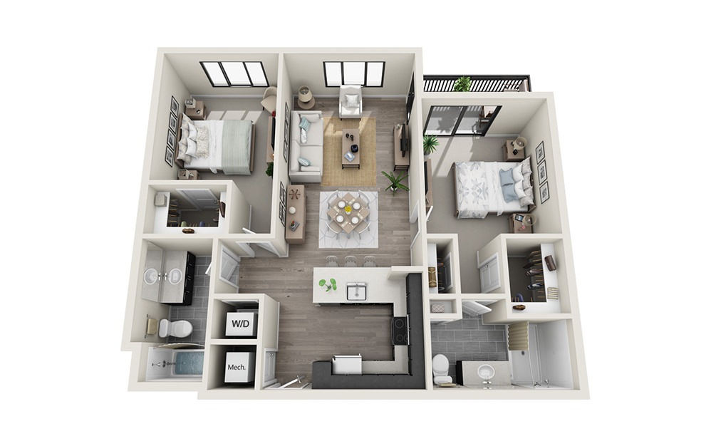 B1 - 2 bedroom floorplan layout with 2 baths and 1089 square feet.