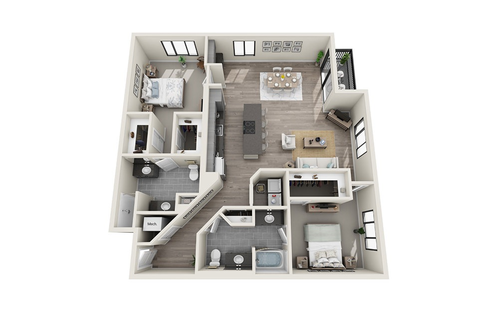 B10 - 2 bedroom floorplan layout with 2 baths and 1501 square feet.