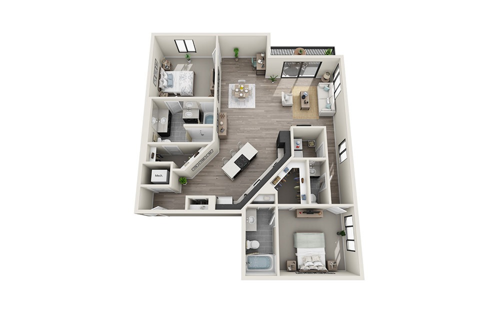B11 - 2 bedroom floorplan layout with 2.5 baths and 1551 square feet.