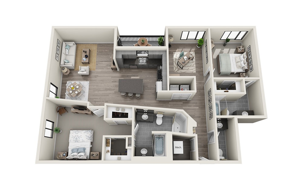 B12D - 2 bedroom floorplan layout with 2.5 baths and 1561 square feet.