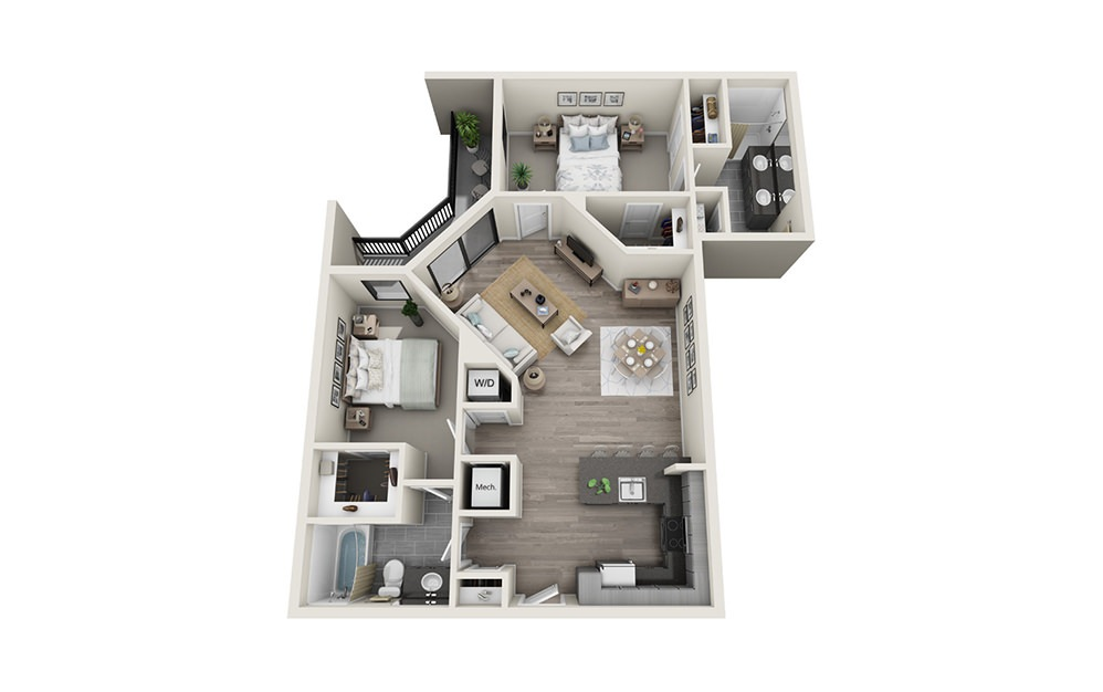 B2 - 2 bedroom floorplan layout with 2 baths and 1188 square feet.