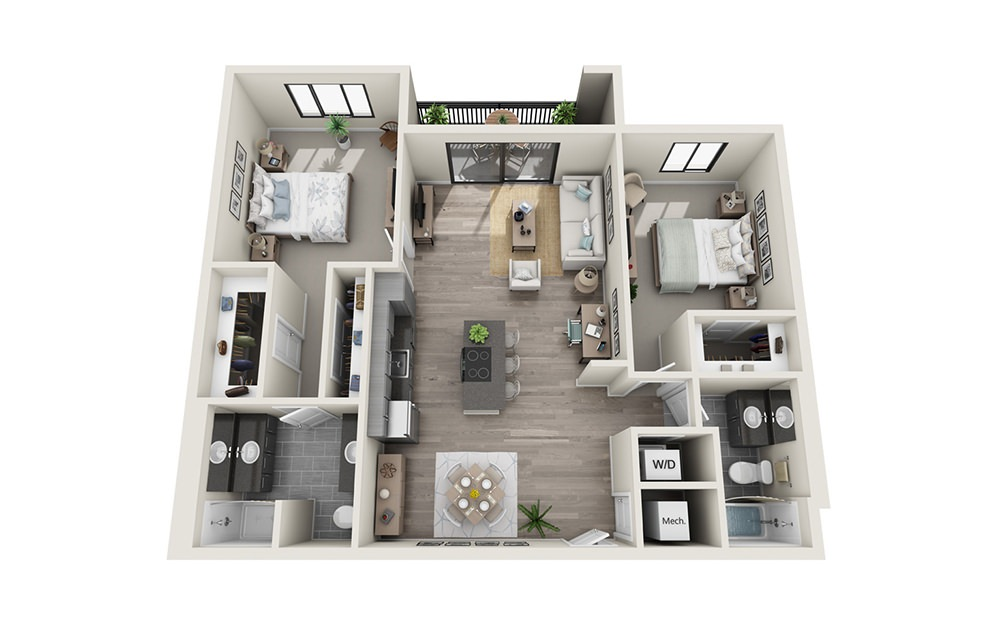 B3 - 2 bedroom floorplan layout with 2 baths and 1227 square feet.