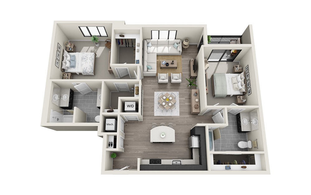 B4 - 2 bedroom floorplan layout with 2 baths and 1267 square feet.