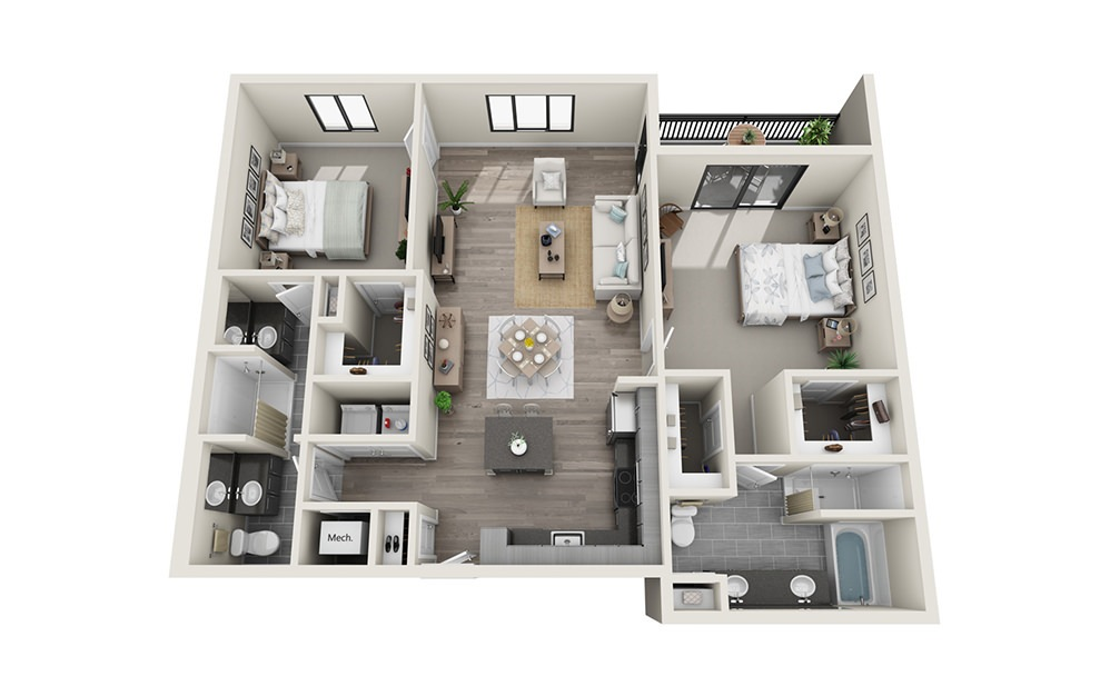 B5 - 2 bedroom floorplan layout with 2 baths and 1341 square feet.