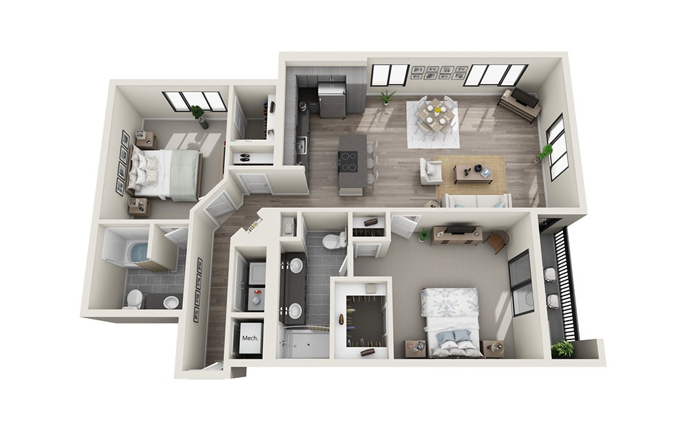 B7 - 2 bedroom floorplan layout with 2 baths and 1380 square feet.