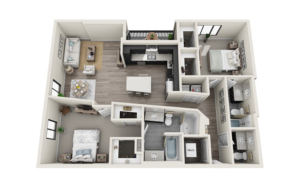 B8 - 2 bedroom floorplan layout with 2.5 baths and 1433 square feet.