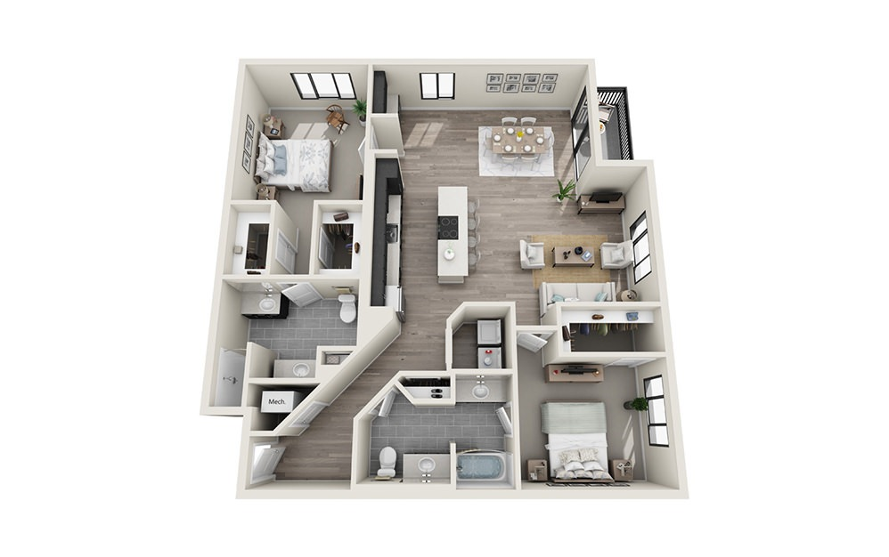 B9 - 2 bedroom floorplan layout with 2 baths and 1501 square feet.